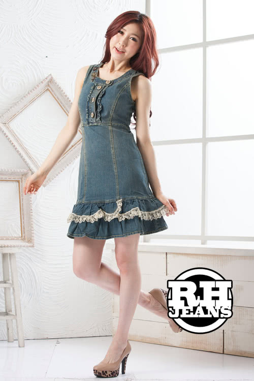 【RH】荷葉外套背心牛仔洋裝七分袖套組(單寧藍七分袖整套)