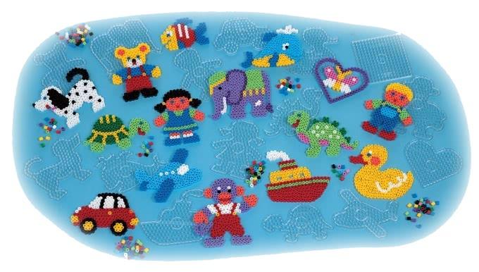 【hama幼儿大豆豆】600颗大拼豆幼儿早教学习组合(旅行轻装盒-大圆板)