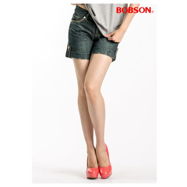 【BOBSON】女款反褶蝴蝶刺繡短褲(復古藍137-77)