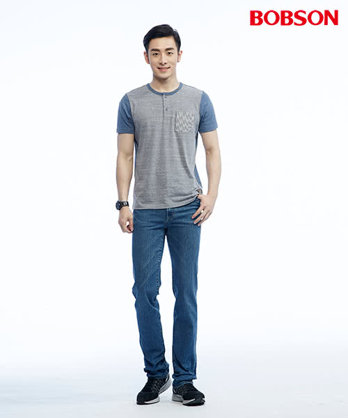 【BOBSON】男款低腰後袋繡花直筒褲(1809-53)