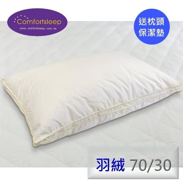 【Comfortsleep】頂級95%舒適羽絨枕頭2入(送醫美級蝸牛保濕面膜一盒+枕頭保潔墊)