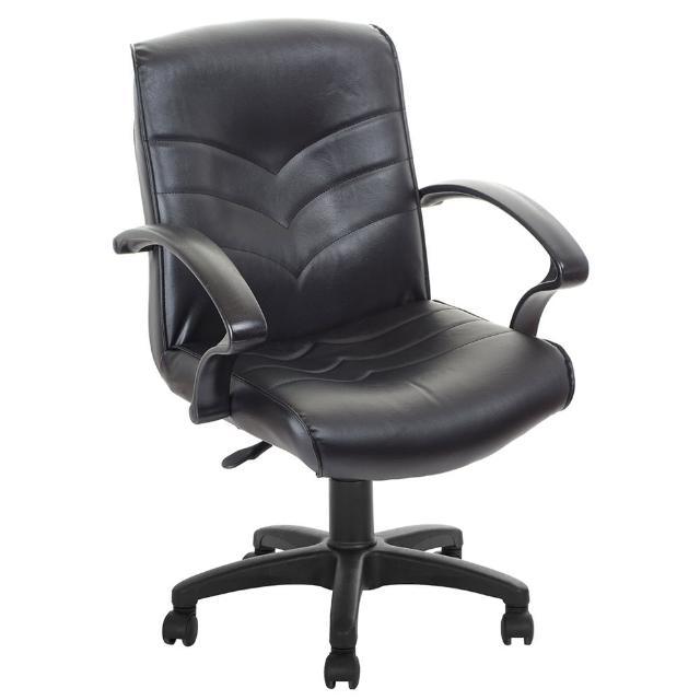 【吉加吉】低背箭紋 皮椅  電腦椅 TW-1007(黑色)