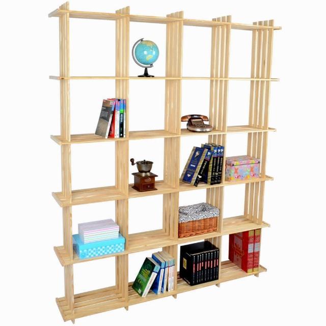 【LIFECODE】極簡風黃松木正二十格架-實木置物架-書架-花架