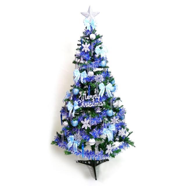 【聖誕裝飾品特賣】幸福6尺-6呎(180cm一般型裝飾綠聖誕樹+藍銀色系配件+100燈鎢絲樹燈2串)