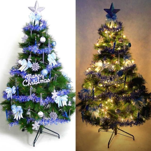 【聖誕裝飾特賣】台灣製7尺-7呎(210cm特級綠松針葉聖誕樹+藍銀色系配件組+100燈鎢絲樹燈3串)