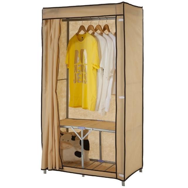 【免工具】專利品80公分寬-攜帶型折疊式-鐵管吊衣櫥-吊衣架(附全蓋式防塵布套-4色可選)