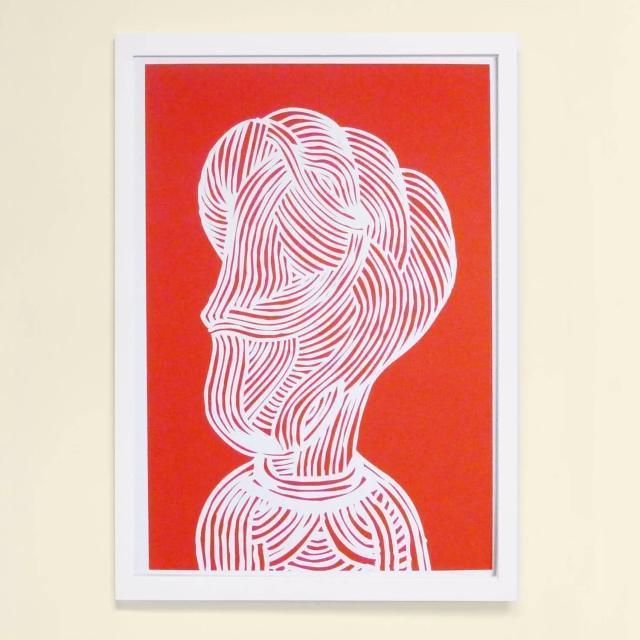 【摩達客】西班牙知名插畫家Judy Kaufmann藝術創作海報掛畫裝飾畫-紅臉(附簽名 含木框)
