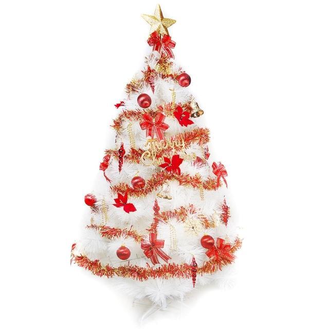 【聖誕裝飾品特賣】台灣製10呎-10尺(300cm特級白色松針葉聖誕樹-紅金色系配件(不含燈)