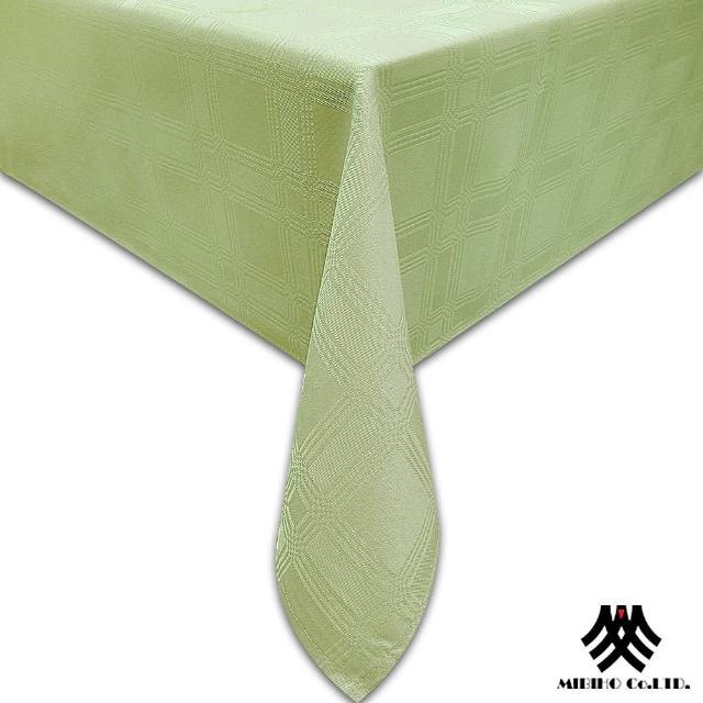 【M.B.H─夢幻方格】緹花防潑水桌巾(草綠140x180cm)