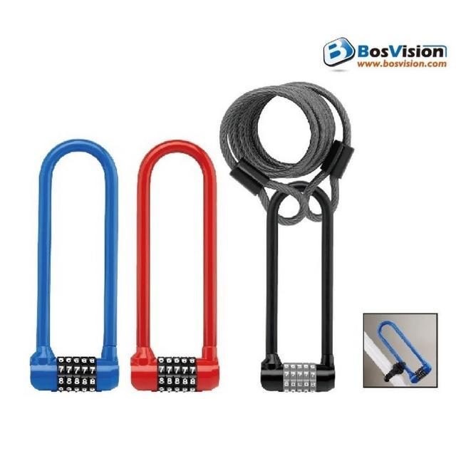 【Bosvision】WL864-自行車5字輪U型密碼鎖(黑色-不含鋼索)