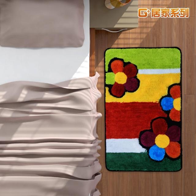 【居家G+】繽紛花朵超細纖維止滑地墊(40X60公分-長方形款)