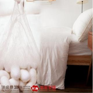 【Lust 生活寢具】6x7尺《100%桑蠶絲被》60支棉緹花表布3.5公斤加重款(白色)