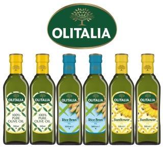 【Olitalia奧利塔】純橄欖油+玄米油+葵花油田園料理組(500mlx6)