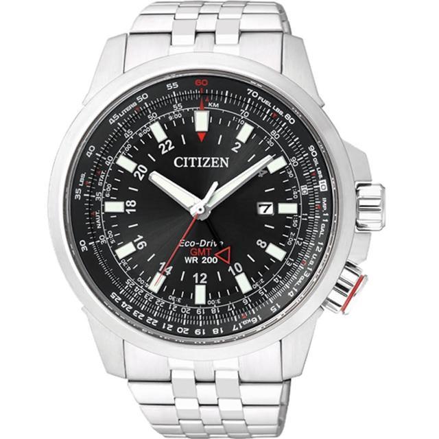 【CITIZEN 星辰】Eco-Drive 浩瀚飛行雙時區光動能腕錶-銀x黑(BJ7071-54E)