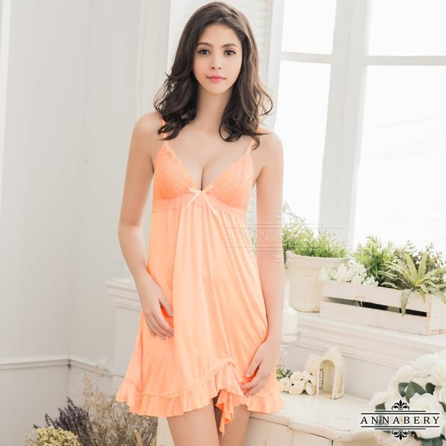 【Annabery】大尺碼Annabery粉橘氣質柔緞睡衣