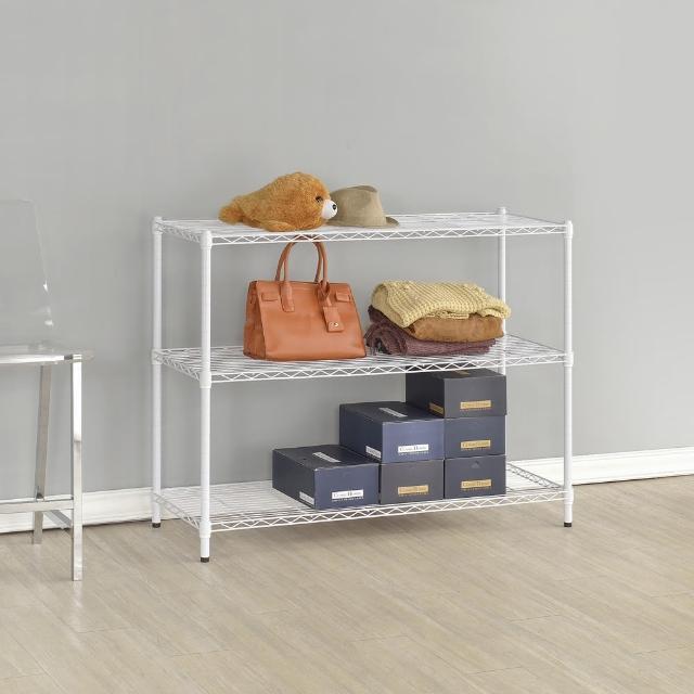 【百變金鋼】90-45-90三層烤漆置物鐵架(白色)