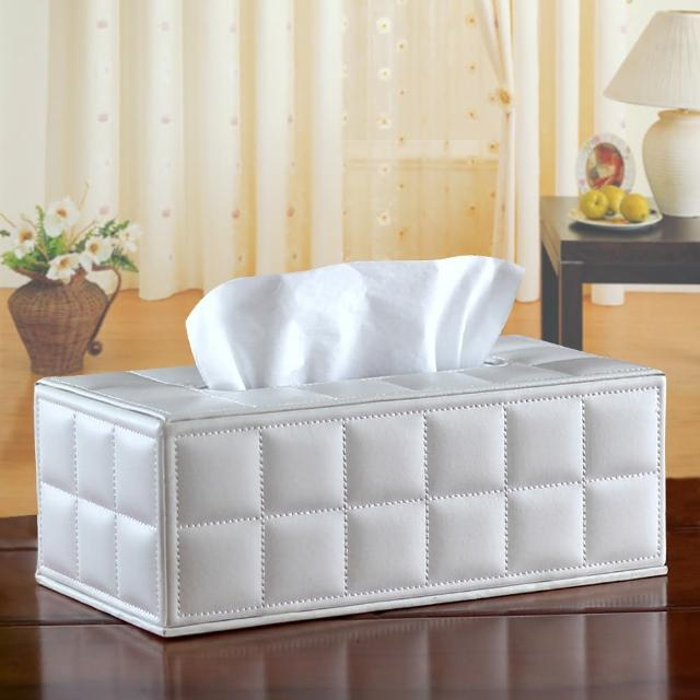 【幸福揚邑】精品歐式方格紋皮革 磁吸式收納面紙盒-紙巾盒-經典白