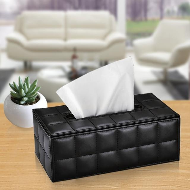 【幸福揚邑】精品歐式方格紋皮革 磁吸式收納面紙盒-紙巾盒-時尚黑