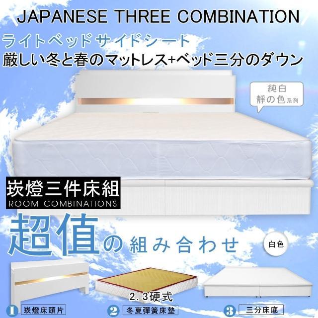 【HOME MALL-民宿風崁燈】雙人5尺三件式硬式彈簧床組(白色)