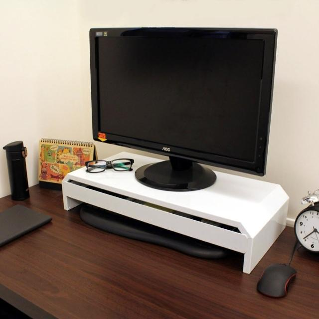 【美佳居】(鐵板製)桌上型-抽屜-螢幕架-置物架(二色可選)