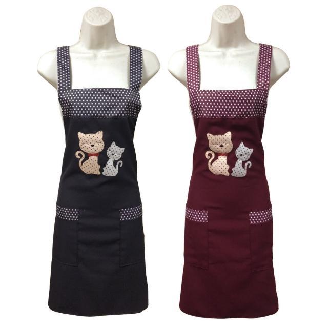 繡花貓兩口袋圍裙GS552(藍紅二入任組)