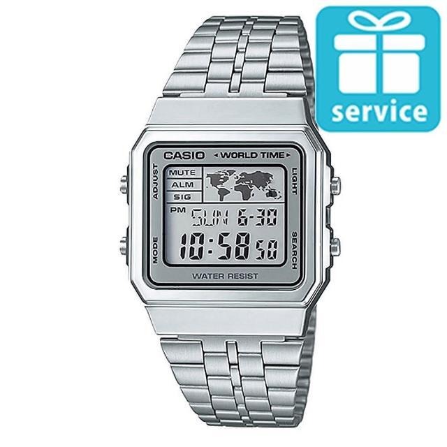 【CASIO】世界城市復古風不鏽鋼錶(A-500WA-7)