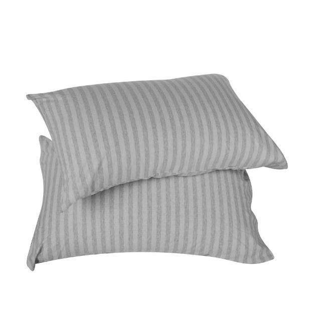 HOLA home自然針織條紋美式枕套2入 經典淺灰