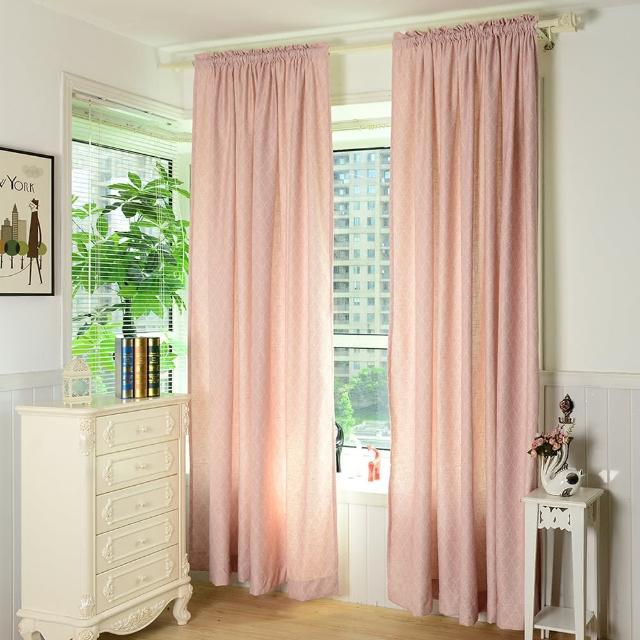 【伊美居】金絲菱格半腰窗簾 130x165cm-2件(粉紅色)