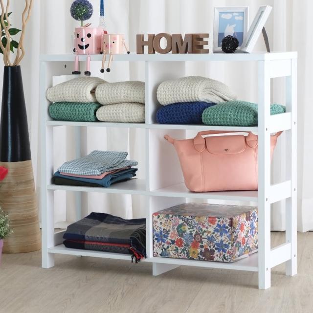 【EASY HOME】三層六格加寬隔間展示收納櫃(美禪白)
