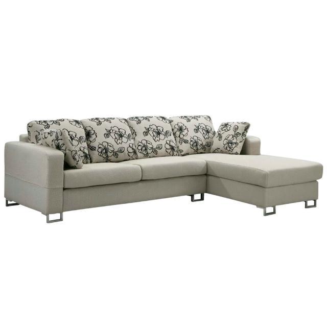 【Bernice】奧莉薇L型布沙發-左右型(送抱枕)
