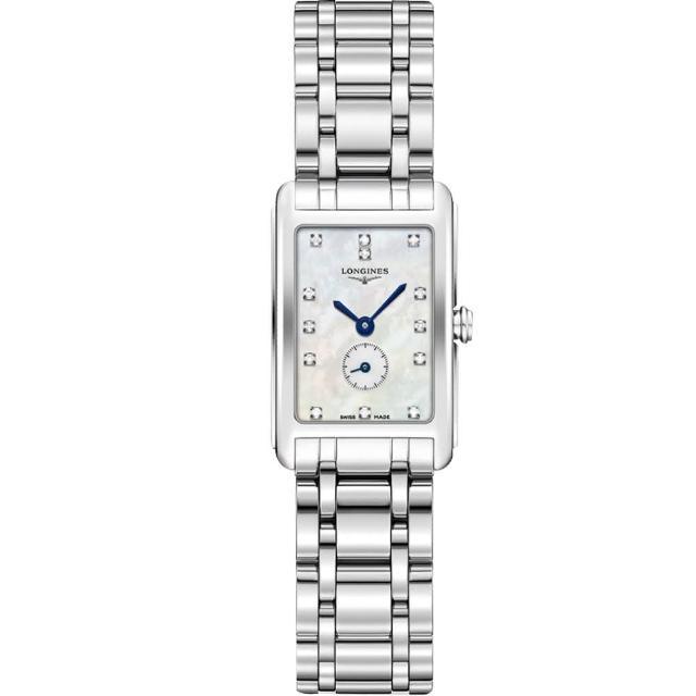 【LONGINES】浪琴 DolceVita 小秒針真鑽石英女錶-珍珠貝x銀/21mm(L52554876)