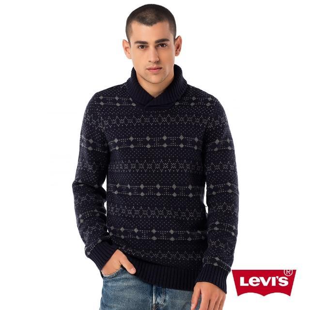 【Levis】圓領羊毛毛衣 / 圖騰 / 點點 / 深藍