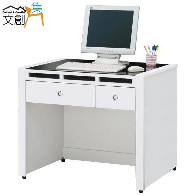 【文創集】米森  時尚白3.1尺玻璃書桌-電腦桌