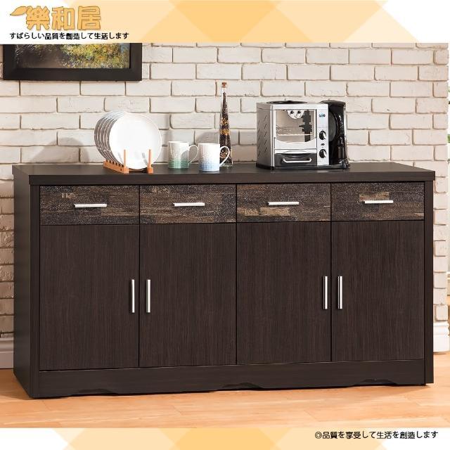 【樂和居】古拉德仿古風黑檀5.3尺碗盤櫃