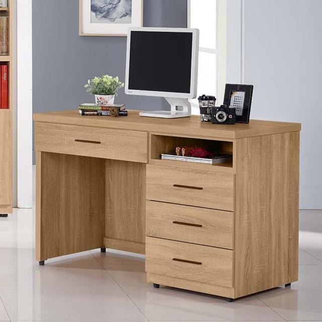 【AT HOME】時尚簡約4尺實木橡木紋收納書桌-電腦桌-工作桌(120x60x79cm-高爾)