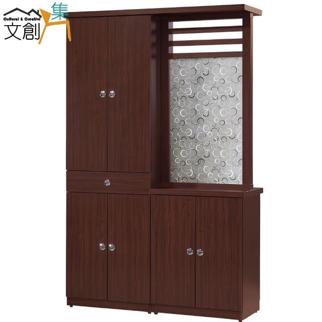 【文創集】拉彼斯   時尚4尺木紋雙面隔間櫃-玄關櫃組合(二色可選)