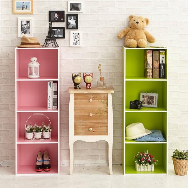 【ikloo宜酷屋】玩色木質四層櫃-書櫃