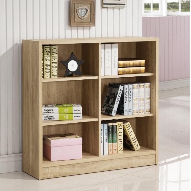 【康迪仕】寬六格書櫃-3D木紋-淺木色(收納櫃-置物櫃)