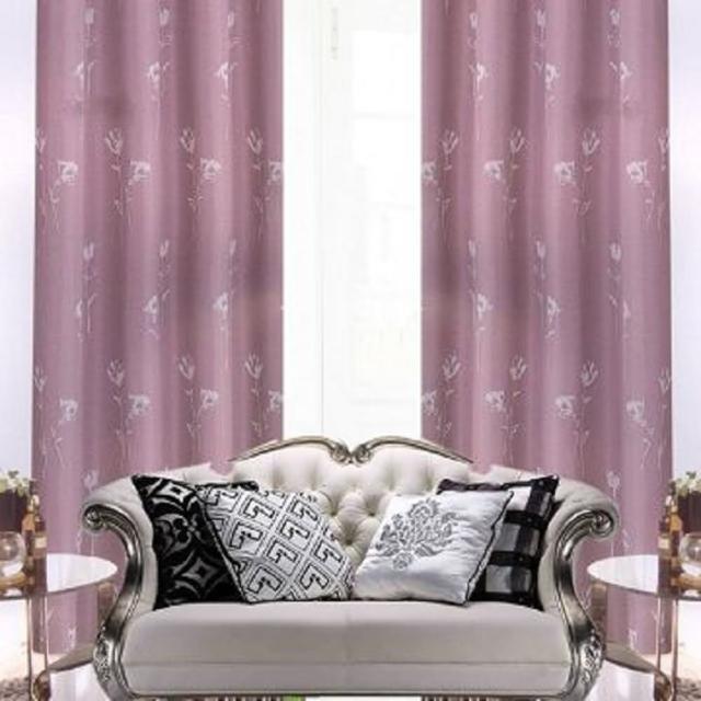【宜欣居傢飾】花仙子-淺白-紫-半腰-雙面緹花遮光窗簾(YX10701)