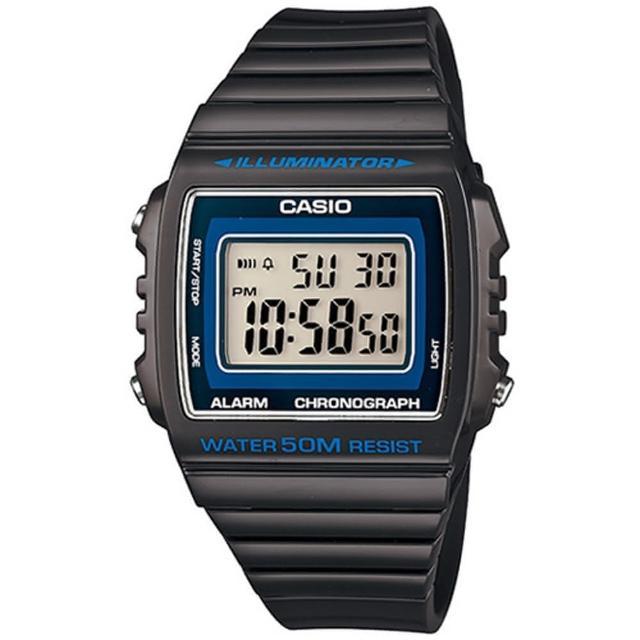 【CASIO】亮眼大螢幕數位錶(W-215H-8A)