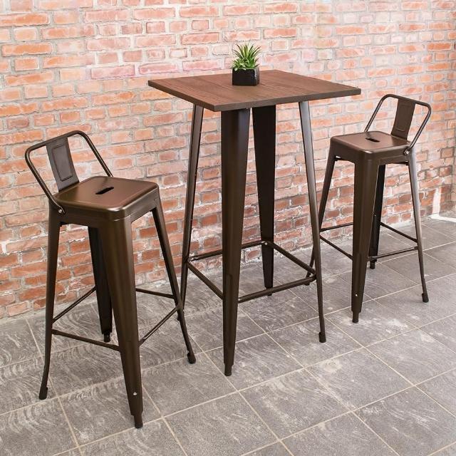 【Bernice】艾客2尺工業風高吧台桌椅組(一桌二椅)