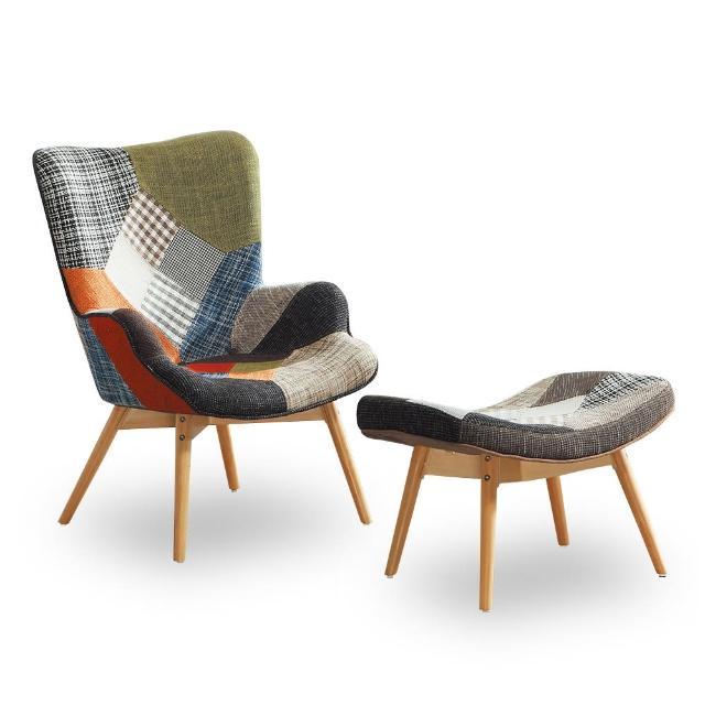 【時尚屋】亞爾曼1007拼布休閒椅+腳椅 NM7-259-2(免組裝 免運費 休閒椅)