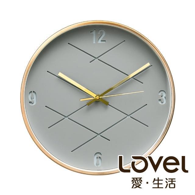 【LOVEL】3D立體古銅金框靜音時鐘-幾何裂紋灰(M721RY-GY)
