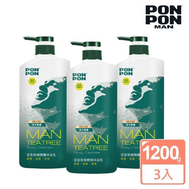 【澎澎MAN】植系沐浴乳 茶樹精華淨化-1200g(3入組)
