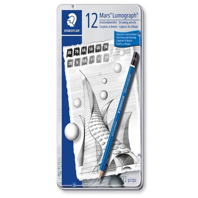 【STAEDTLER】施德樓 100頂級藍桿繪圖鉛筆 12支鐵盒鉛筆組(10012)