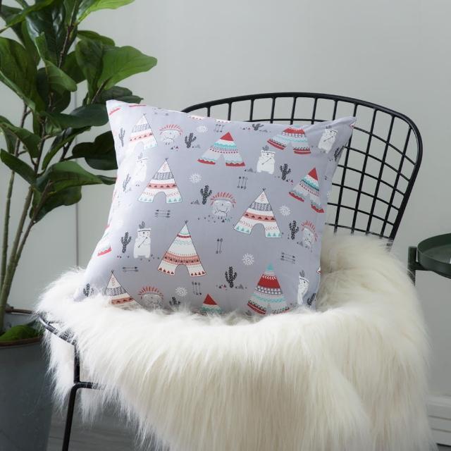 【IN-HOUSE】純棉抱枕-印第安熊(50x50cm)
