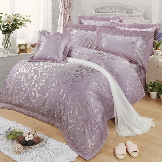 【FITNESS】天絲緹花雙人七件式床罩組-香徑(頂級60S天絲  竹纖維)