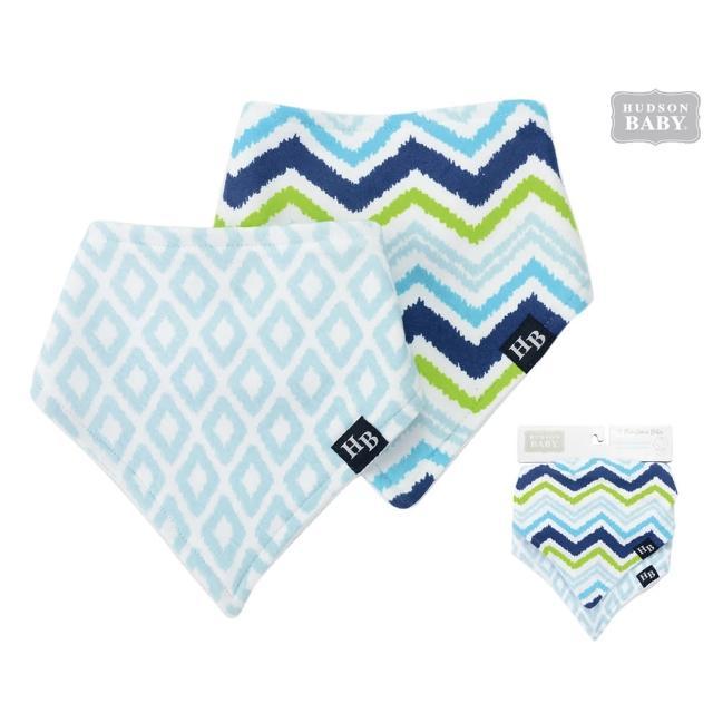 【美國 luvable friends】嬰幼兒三角領巾2入組_閃電方塊(LF50806)