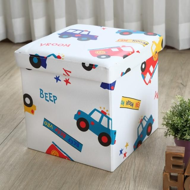 【EASY HOME】繽紛耐重摺疊收納椅凳(小汽車)