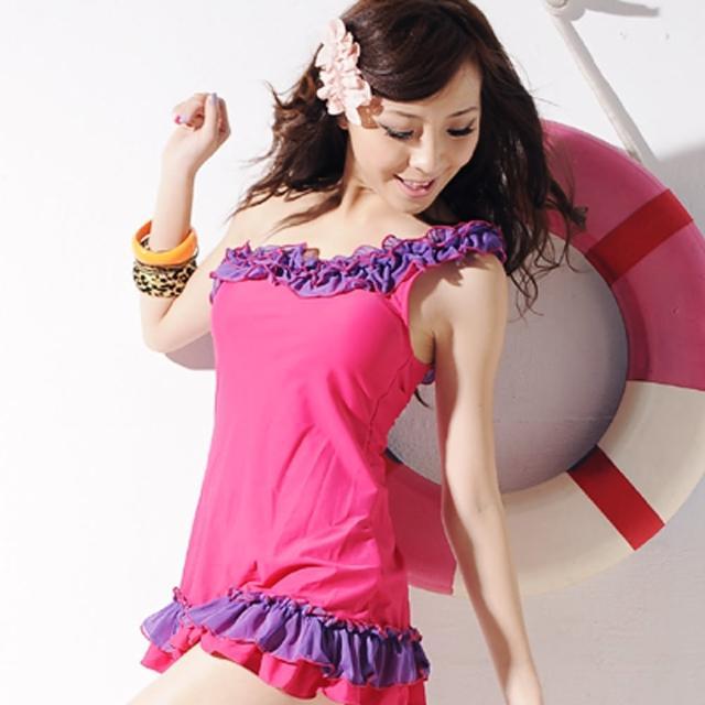 【Lady c.c.】斜肩繞花浪漫兩件套泳裝(桃)